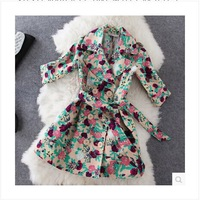 2014 Autumn Winter Print Floral Trench Coat Women Fashion Double-Breasted Turn-Down Collar Half Sleeve Sashes Overcoat Outwear