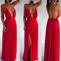 2014 new fashion beach sexy wedding elegant red spaghetti strap V-neck full dress