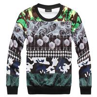 Trend 2014A/W   3d Camouflage doodle white digital print  mens o-neck sweatshirt