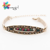 Gold Plated Jewelry Charm Bangles Fashion Design Colorful Rhinestone Pretty Women Bracelet [ME-B11]