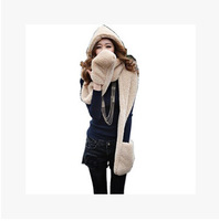 New   Women Hat Scarf Gloves Triad Hat And Scarf Set For Women Free Shipping 2014 Winter Brand Fashion Fur Hats