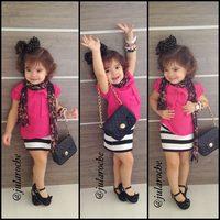 Fashion girl suit 2 sets: pink top+ skirt Bowknot design Lovely girl wearing Summer best choose New arrive