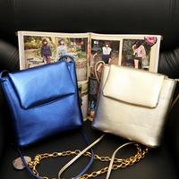 2014 Autumn Trend Metal Colour Small  Messenger Bag Pretty style school bag ladies satchel  gold ,silver colour bolsas femininas