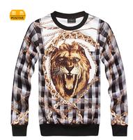 2014 autumn fashion HARAJUKU chains lion male o-neck sweatshirt