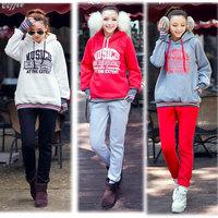 Hot Sale! 2014 Autumn & Winter Korean Plus Size Women's Hooded Sweatshirts All-match Fleeced Letter Clothes 8101# S-XXL