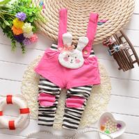The autumn of 2014 new Korean baby girls child small white stripe Bib romper leggings B108