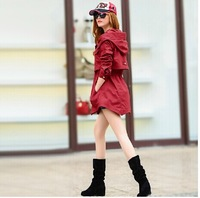 New Arrival Designer Women Trench Coat Outwear Fashion Big Hooded Irregular Elastic Waist 100% Cotton Casual  Overcoat XXL