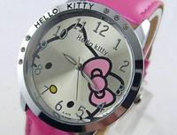 Cute Hello Kitty Cartoon Wristwatch For Girls Children Kid Women Dress Leather Strap Crystal Wrist Watch