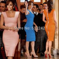 2014 Spring Autumn Summer New Women Brief Work Business Official Formal OL Blue Pink Orange Dress Dresses Free Shipping hxh