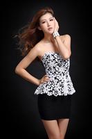 2014 summer women sexy nightclub loaded beaded V-neck Tee cotton bud screen rendering package hip dress halter flower clothing