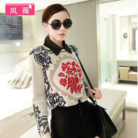 Winter retro round neck long-sleeved blue and white patterned head women's sweaters