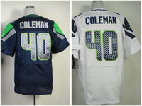 Authentic Derrick Coleman Jersey Elite Size 40-56 Blue White Green Grey #40 New Material Embroidery Also Sell Baseball T-shirt