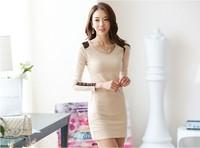 Fall/winter 2014 frock OL fashion long sleeve dress slim Pack hip casual women's clothing Free Shipping