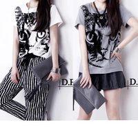 2014 summer mm plus size t-shirt female fashion short-sleeve women's cat t-shirt top basic shirt