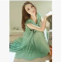 2014 summer fashion retro cute women Heavy water blue-green beaded dress girl dresses clothing