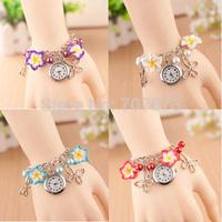 Ladies Girl's Charm Flowers  Handwork Band Bracelet Wrist Watch Quartz Wristwatch
