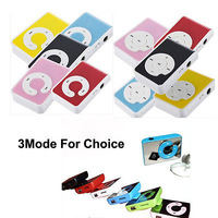 New Mini Plastic C/Q/Mirror Clip Music Mp3 player+USB Connector+Earphone+Tracking number Support up TO 16GB SD/TF Card