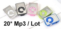 Mirror Clip mp3 Player +USB Connector+Earphone+Tracking number TF card support 6 Colors High Quality