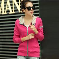 Hot Sale Casual Hooded Long Sleeve Solid Pockets Cardigans Preppy Style Short Women Hoodies Sweatshirts 9565