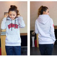 Hot Sale! 2014 Autumn & Winter Korean Plus Size Women's Hooded Sweatshirts All-match Fleeced Letter Clothes 8006# S-XXL