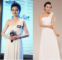 Fashionable New Sexy One Shoulder White Chiffon Long evening dress vestidos de festa vestido longo prom dresses 2014 gown E102
