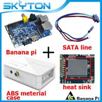 Original Banana Pi+Sata Line Cable 100% Copper Wire+Ceramic heat sink+White Fashion ABS Material Case Box  Free shipping