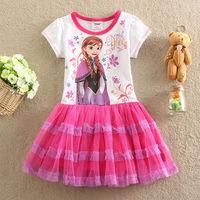 Free Shipping 2014 Hot Selling New baby Girls Frozen Dress Anna Elsa beautiful Dress Fashion princess Dress Children's Cloting