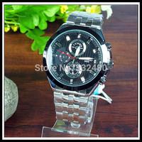 1pcs High quality goods Long Bo classic quartz waterproof steel belt table/wristwatches for gentleman