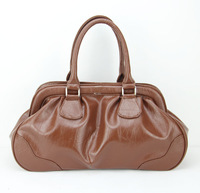 H037(dark brown) Euramerica big style cross section square pure color leather handbag for woman,Free shipping!