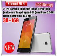 Xiaomi Mi4 M4 Mobile Phone 5''1920*1080 Quad Core Qualcomm Snapdragon 2.5GHz 3GB RAM Camera 8MP+13MP