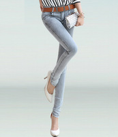 Exclusive!! Grey Garment New Korean Pencil Pants Slim Women Jeans Denim Pants Classic Skinny Jean Fashion 2014 Free shipping