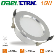 Daei ETRN Brand 2014 new 15W LED Downlights LED Recessed lights LED Bulbs Silver White 2016 LED Free Shipping(China (Mainland))