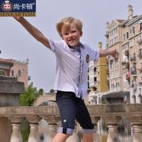 British style male child summer 100% cotton short-sleeve shirt summer white shirt male 604