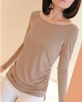 FREE SHIPPING 2014 early autumn Couture shirt T-shirt long sleeve T-shirt skirt folds Korean lady bottoming shirt
