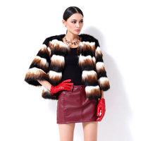 2014 Hot Sale Women's Fox Fur Coat For Winter Women Warm  Faux Fur Coat  Free Shipping