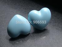 24pcs lot free shipping  Porcelain Ocean blue love heart cartoon cabinet knob\porcelain handle\drawer knob
