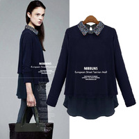 Fashion Ladies Cotton Patchwork Body Shirts 2014 Newest Long Sleeve Women Blouse European Turn-down Collar Tops 8015