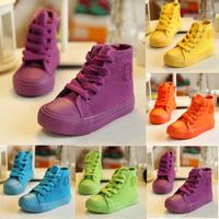 2014 Autumn children candy color canvas shoes high top boys girls casual shoes princess shoes single shoes