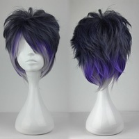 Cool Ombre cosplay wig purple black gray color mixed Synthetic wigs short hair cut Anime cosplay wig