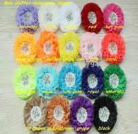 "DHL  free shipping!100 pcs/lot, 3.3"" Beaded chiffon Pearl Rhinestone Chiffon print Ruffled Flower headbands"