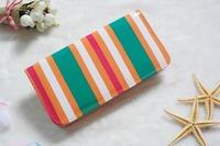 Free Shipping 2014 Women Candy Stripes Wallet  Zipper Stripes Purse