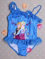 5PCS/SET Wholesale Frozen Blue Swimsuit for girls children bathing suits kids swim suits frozen dress free shipping