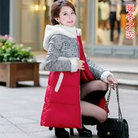 Free shipping 2014 new winter cloak berber fleece down female medium-long thickening down coat  cotton-padded jacket (M-XL)