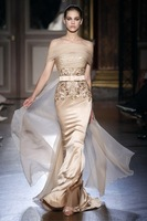 2015 Elie Saab Evening Dresses Sheath Strapless Floor Length Champagne Embroidery Satin Long Elegant Women Evening Gown