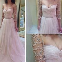 New design A line evening dresses! Sexy sweetheart beautiful long beaded sleeves gown elegant charming pink chiffon formal dress