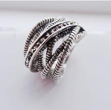 Retro 925 Sterling Silver Ring Fine Fashion Big Net Weaving Rhinestone Silver Jewelry Ring Women Men