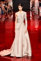 2015 Elie Saab Evening Dresses A-line One-shoulder Long Sleeves Champagne Beaded Open Back Long Elegant Party Evening Gown