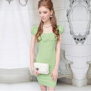 DABUWAWA Original Women Dress Brand New Fashion Summer Dress 2014 Green Dress Flowers Slim Dresses Vestidos Vestido(China (Mainland))