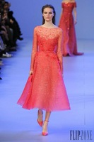2015 Elie Saab Evening Dresses A-line High Collar Long Sleeves Orange Beaded Short Satin Elegant Party Evening Gown