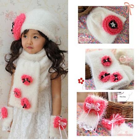 2014 New Design Autumn Winter Hat for Children Girls Accessories 1Set=Beanie+Scarf+Glove #H58(China (Mainland))